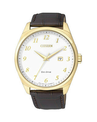 NEW Citizen Mens Gold Stainless Steel Eco-Drive Date Watch - BM7322-06A