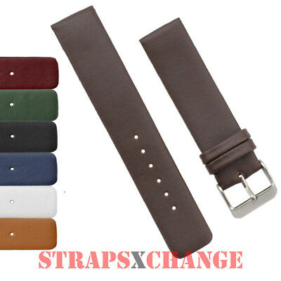 Genuine Leather Straight Thin Watch Band Strap Ladies Mens Classic Fine Watches