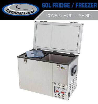 National Luna 60lt Fridge Dual Thermostat Stainless Steel Freezer Camping Offroa