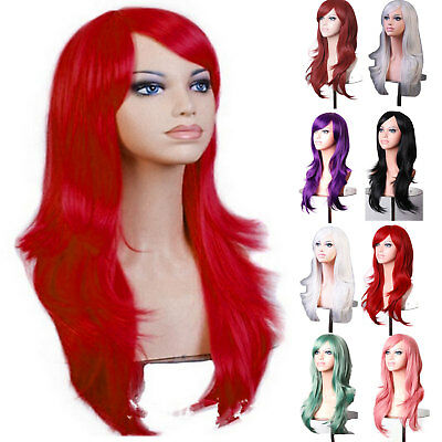 Womens 70cm Long Wavy Curly Hair Synthetic Cosplay Full Wig Wigs Party AU