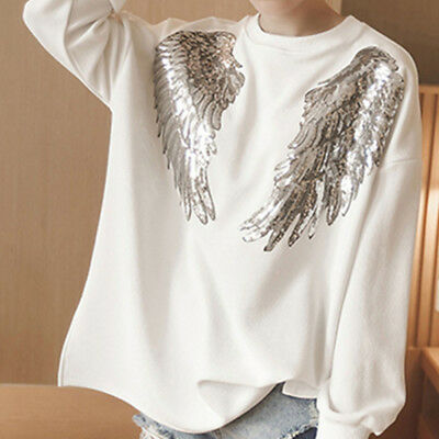 DIY Garment Decor Embroidered Applique Motif Angel Wings Sequins Iron-On Patch