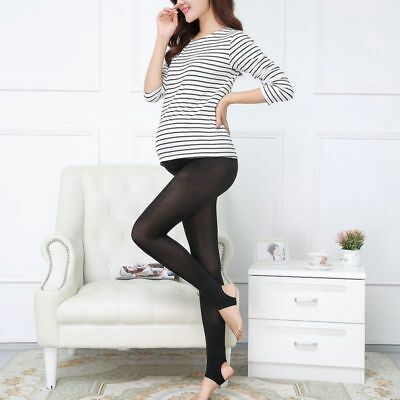Pregnant Women Maternity Leggings High Waist Elastic Winter Warm Black Trousers