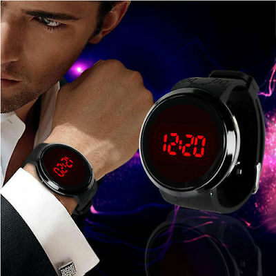 Fashion Men LED Digital Date Sport Touch Screen Date Silicone Quartz Wrist Watch