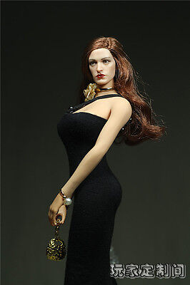 1/6 Customi Black Pearl Clothies long dress For Phicen Female Large Bust Figure