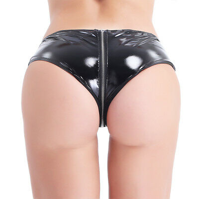 Sexy Women Zipper Crotch Bikini Panties Brief PVC Leather Micro Shorts Underwear