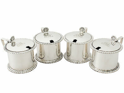 Antique Set of Four Sterling Silver Mustard Pots 641g