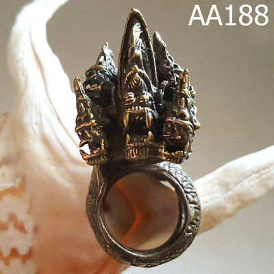 Solid Huge Bronze Naga 3Heads Serpent Snake Ring for Bikers Thai Amulet #aa188g