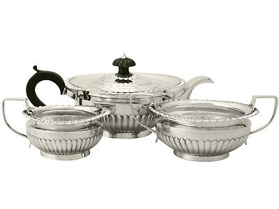 Sterling Silver Three Piece Tea Set - Queen Anne Style - Antique Victorian 992g