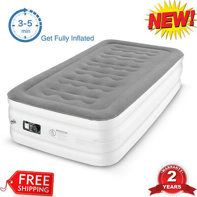 Twin Size Raised Inflatable Air Mattress Airbed Mat Cushion Built Electric Pump