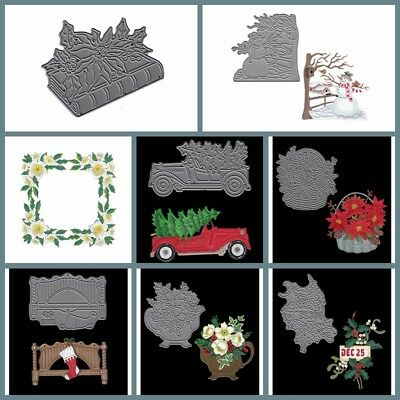 Flowers Xmas Cutting Dies Stencil Scrapbooking Album Embossing Crafts Gift Card