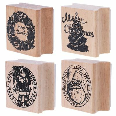 Vintage Raw Christmas Wood Rubber Stamp DIY Notebook Scrapbook Album Card Decor