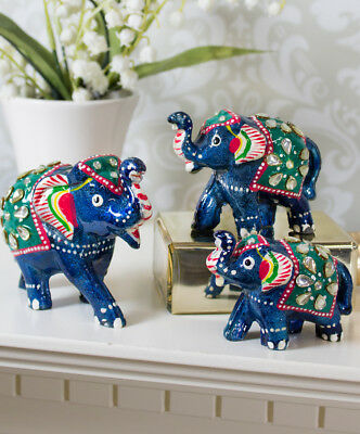 Set of 3 Lucky Hand Crafted Elephants Ornaments