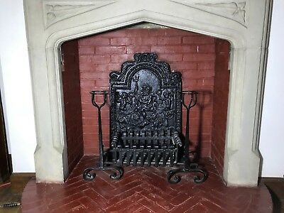 Antique Fire Basket Grate and Ornate Decorated Back Plate