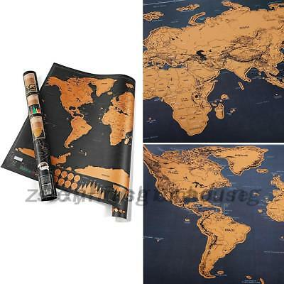 Scratchable Off World Map Learn Deluxe Large Travel Wall Poster Home 82x59CM ZH
