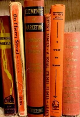 6 ANIQUE BOOKS COLLECTION Shabby Orange Decor Staging Primitive Library Stack