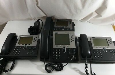 LOT of 4- Cisco 7960 IP Phone  w/ Curly Cord, Handset & Adapter - TESTED