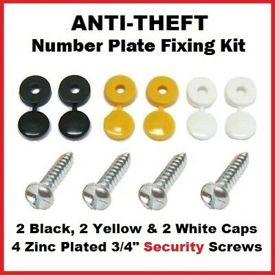 Number Plate Anti-Theft Security Screws x 4 With Black White Yellow Caps x 6