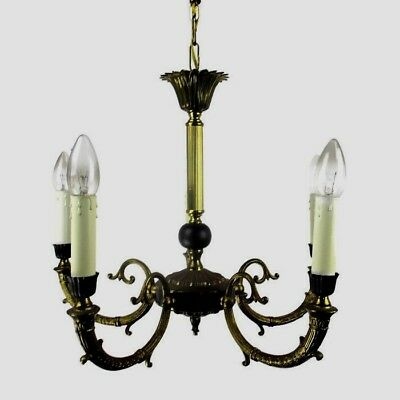 French Empire Pan Chandelier Green Wood Tole Brass 5 arms Hollywood Regency