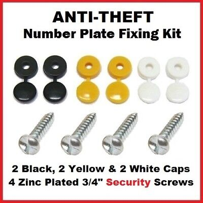 Anti Theft Number Plate Security Screws Fixing Kit Fitting Kit STOPS THIEVES!