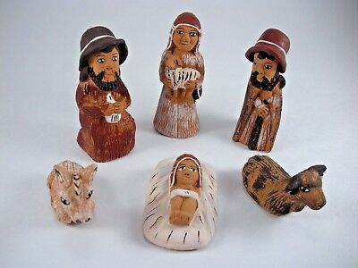 Nativity 6 Piece Figures Peru Handmade Folk Art Christmas Clay Pottery