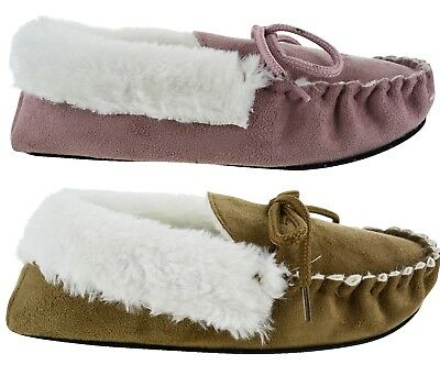 Womens Bed Time Slippers Warm Winter Comfy Faux Fur Lined Ladies Cosy Shoes Size