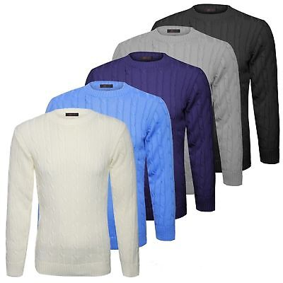Mens Plain Classic Chunky Cable Knitted Crew Neck Top Knitwear Jumper Sweater