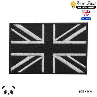 Union Jack Black Flag Embroidered Iron On Sew On PatchBadge For Clothes etc
