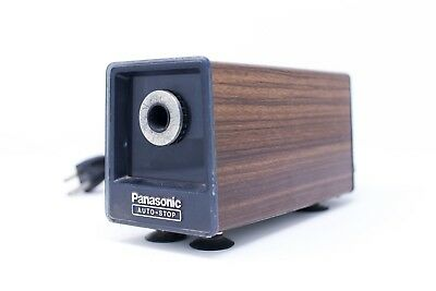 Vintage Panasonic KP-77A Auto Stop Electric Pencil Sharpener Wood Grain Japan