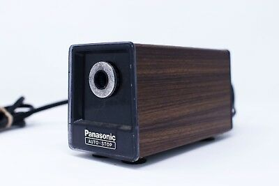 Vintage Panasonic KP-77S Auto Stop Electric Pencil Sharpener Wood Grain Japan