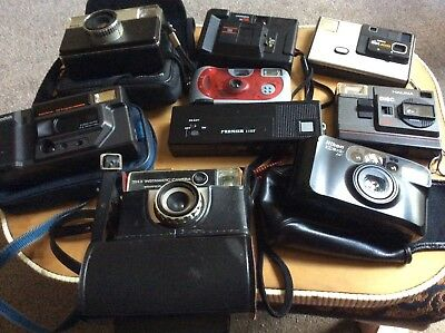 Cameras Job Lot Of Nine Vintage Cameras Some With Cases
