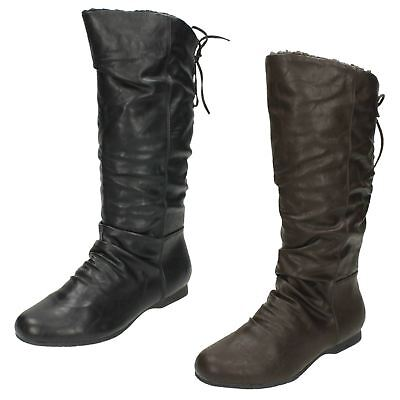 Ladies Coco Calf Length Lace Up Synthetic Fur Lined Boot