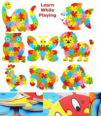 Kids Wooden Letters ABC Alphabet Animal Puzzle Pre-School Learning Jigsaw Toy UK