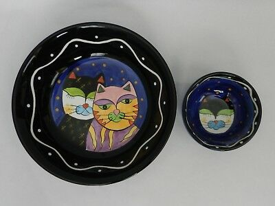 Hand Painted Ceramic Cat Food / Water Bowls (2) By Milson & Louis