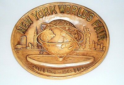 New York Worlds Fair 1964 1965 Souvenir Wall Hanging Plate 3D Piece Of History