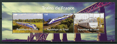 Chad 2016 MNH French Trains High Speed Trains of France 3v M/S Railways Stamps