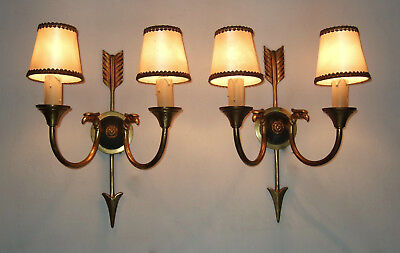Large Pair Antique French Gilt Bronze Empire 2 Branch Wall Sconces, Lights