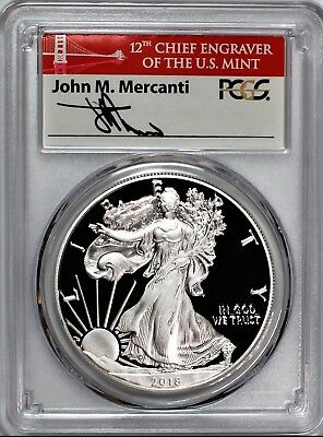 2018 S $1 Proof Silver Eagle PCGS PR70 First Day of Issue Mercanti Bridge Label