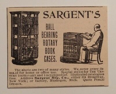 1893 Sargent's Rotary Book Cases Advertisement Muskegon, Michigan