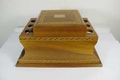 Vintage Decatur Industries Marquetry Wooden Box Pipe Holder Humidor