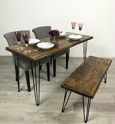Rustic Industrial Table Desk Handmade Console Dining Hairpin Chunky Solid Wood