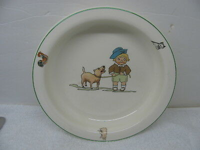 TST Taylor Smith & Taylor Baby Plate Bowl HOLDFAST Little Boy with Dog 1900's
