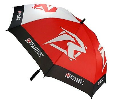 """New RISK Racing Motocross MX Brolly Umbrella Large 50"""" Golf Motorcycle Black Red"""