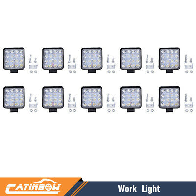 10pcs 48W LED Work Light Flood Spot Light for Off-Road ATV SUV Boat Jeep Truck