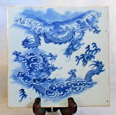 Blue And White Tile With Chinese Dragons