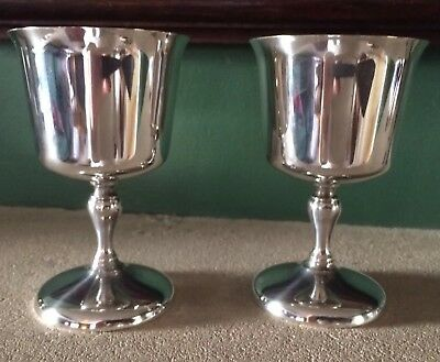 Pair Vintage Silver Plated English Goblets - Ian Heath Style
