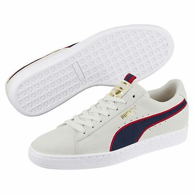 d86ee315e3fb00  366615-01  Mens Puma Suede Classic Sport Stripes Sneaker - Grey Red Navy
