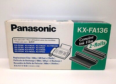Panasonic Genuine Fax Ink Film KX-FA136 Sealed 2 Rolls 100m /328ft each