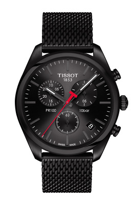 TISSOT PR 100 Chronograph Black Dial Mesh Band Men's Watch T101.417.33.051.00