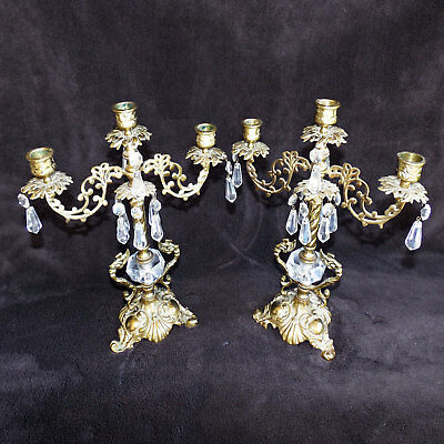 Vintage Pair of 3 Armed Solid Brass Candelabra's with Glass Prisms
