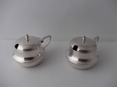 PAIR OF SOLID SILVER MUSTARD CRUET POT'S Birmingham 1921